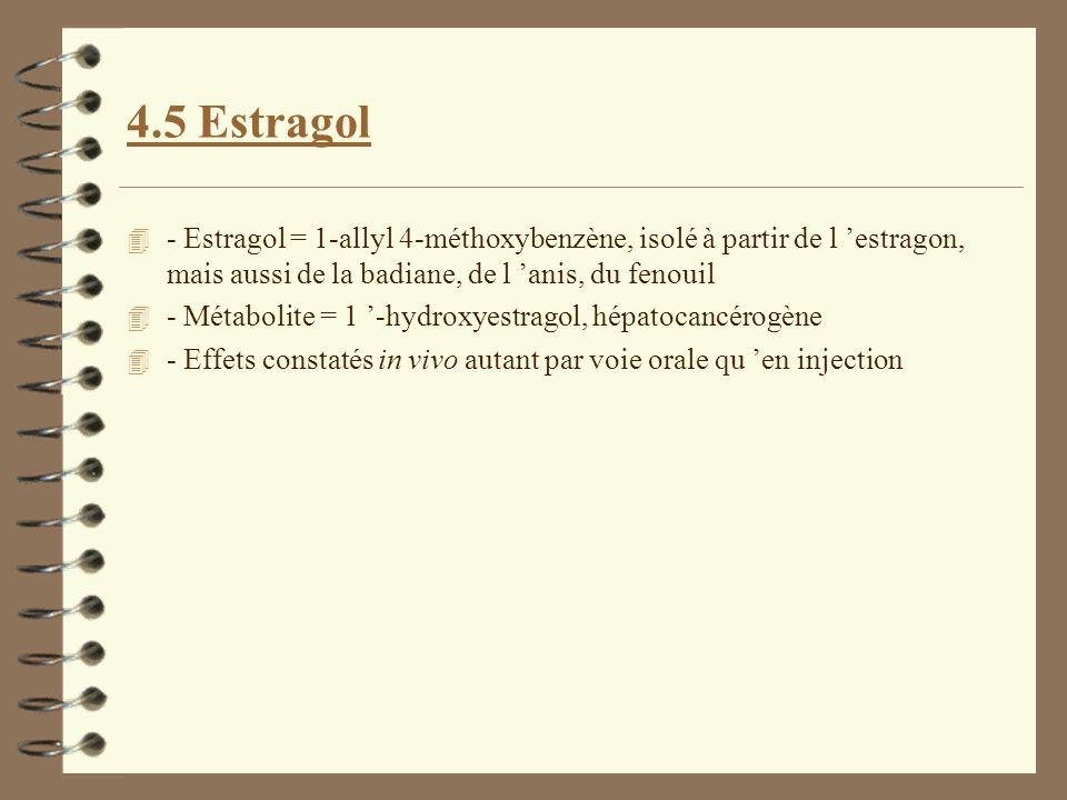 4.5 Estragol - Estragol = 1-allyl 4-méthoxybenzène, isolé à partir de l 'estragon, mais aussi de la badiane, de l 'anis, du fenouil.