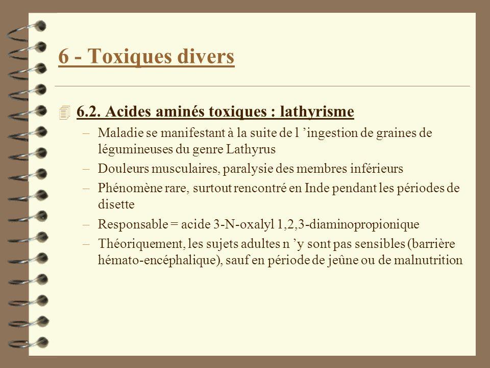 6 - Toxiques divers 6.2. Acides aminés toxiques : lathyrisme