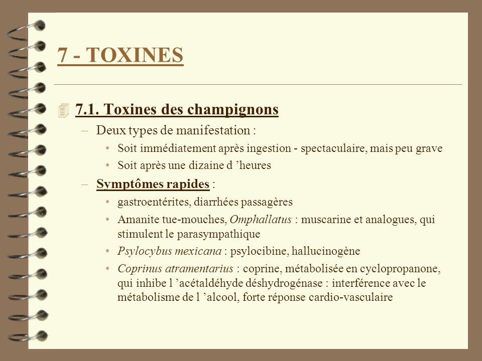7 - TOXINES 7.1. Toxines des champignons Deux types de manifestation :