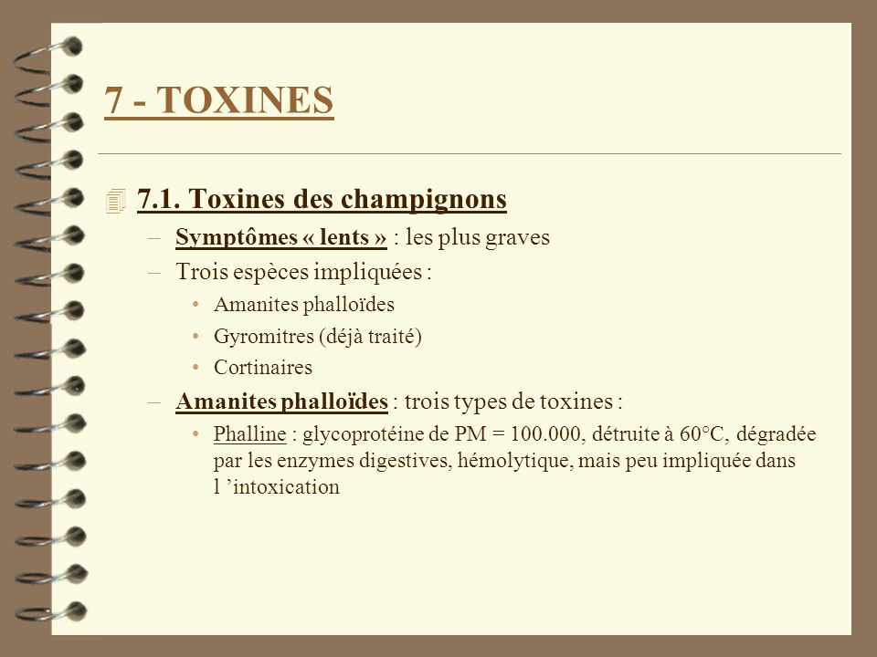 7 - TOXINES 7.1. Toxines des champignons