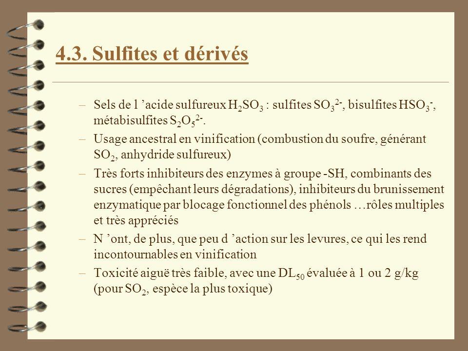 4.3. Sulfites et dérivés Sels de l 'acide sulfureux H2SO3 : sulfites SO32-, bisulfites HSO3-, métabisulfites S2O52-.