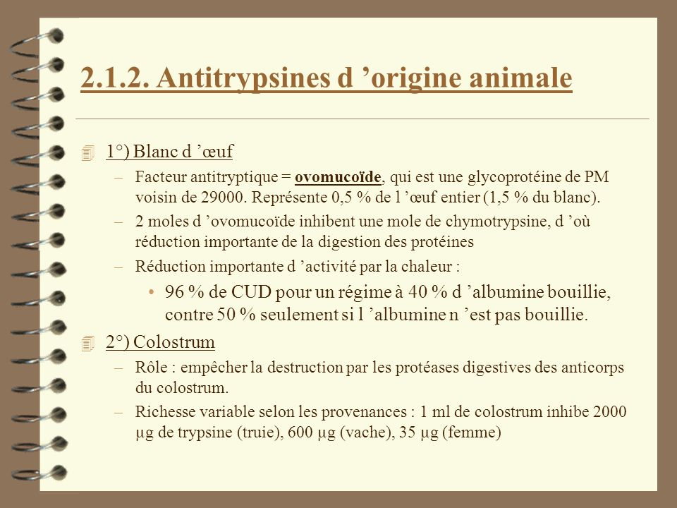 Antitrypsines d 'origine animale