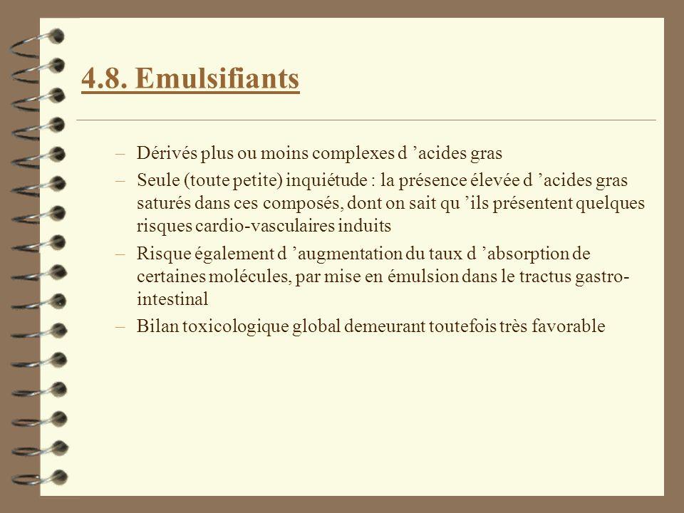 4.8. Emulsifiants Dérivés plus ou moins complexes d 'acides gras