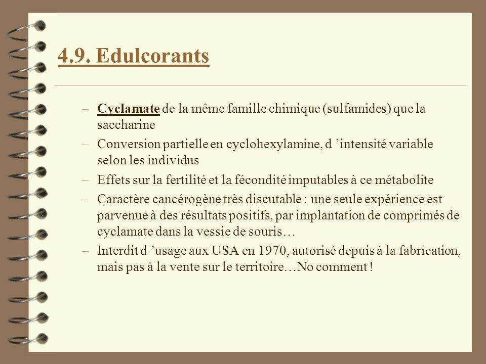 4.9. Edulcorants Cyclamate de la même famille chimique (sulfamides) que la saccharine.