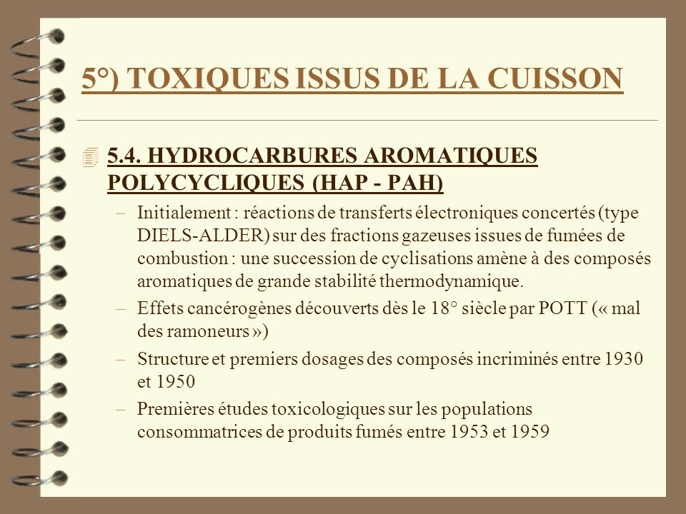 5°) TOXIQUES ISSUS DE LA CUISSON