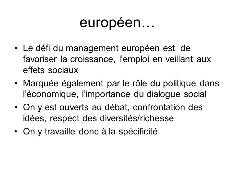 européen… Le défi du management européen est de favoriser la croissance, l'emploi en veillant aux effets sociaux.