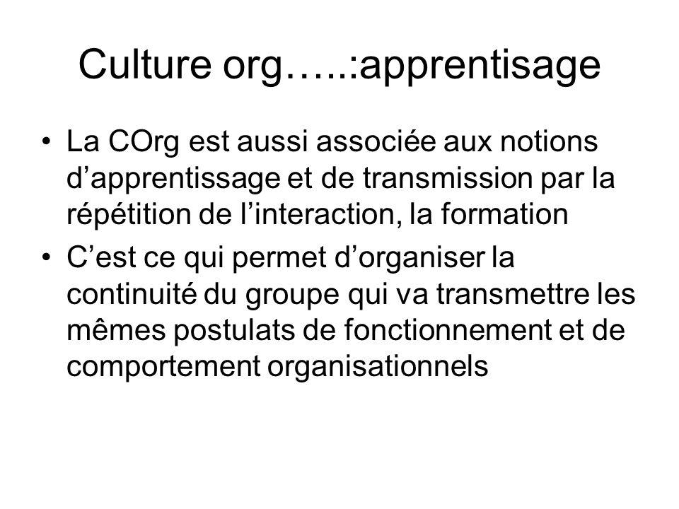 Culture org…..:apprentisage