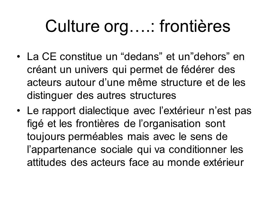 Culture org….: frontières