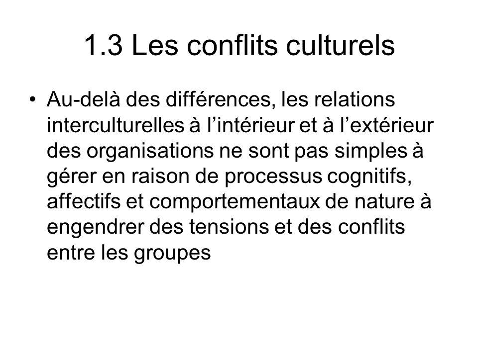 1.3 Les conflits culturels