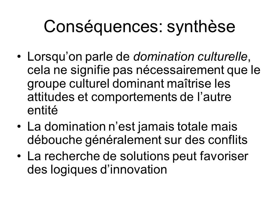 Conséquences: synthèse