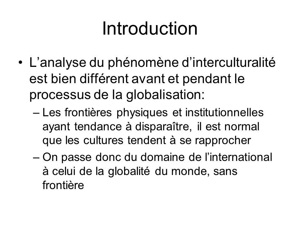 Introduction L'analyse du phénomène d'interculturalité est bien différent avant et pendant le processus de la globalisation: