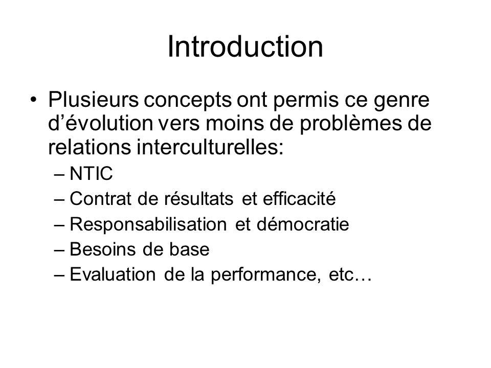 Introduction Plusieurs concepts ont permis ce genre d'évolution vers moins de problèmes de relations interculturelles: