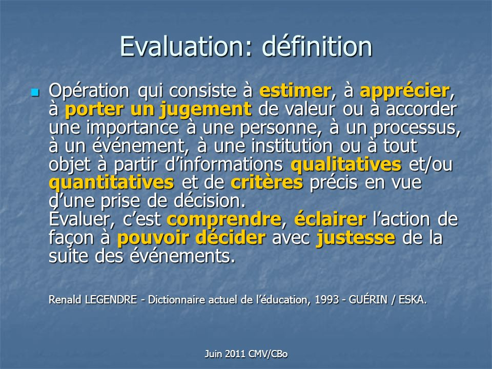 Evaluation: définition