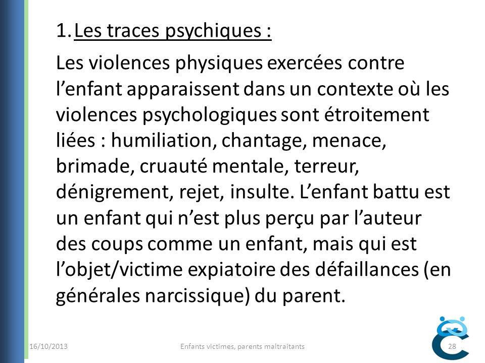 Enfants victimes, parents maltraitants