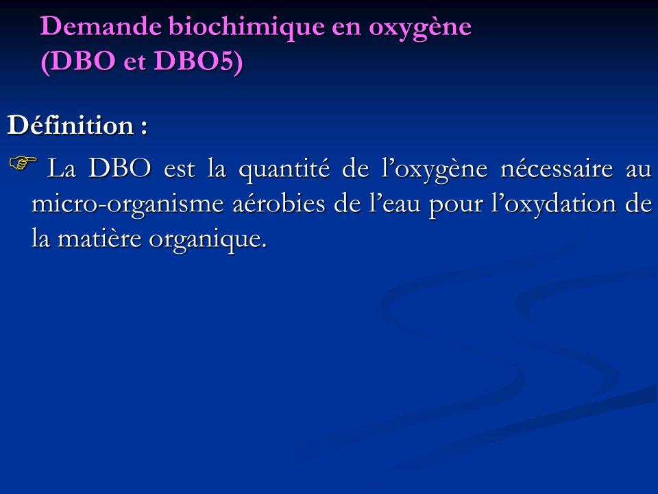 Demande biochimique en oxygène (DBO et DBO5)