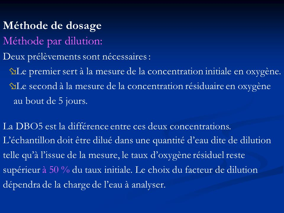 Méthode de dosage Méthode par dilution: