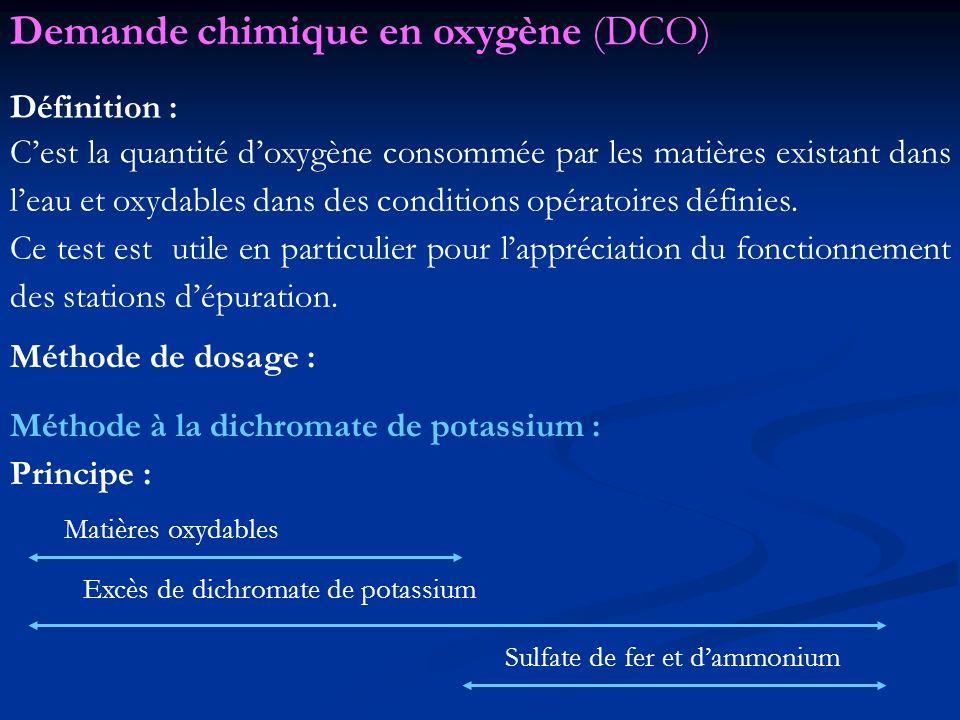 Demande chimique en oxygène (DCO)