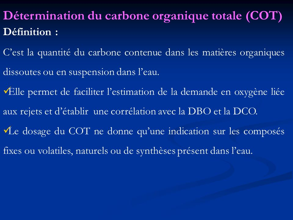 Détermination du carbone organique totale (COT)