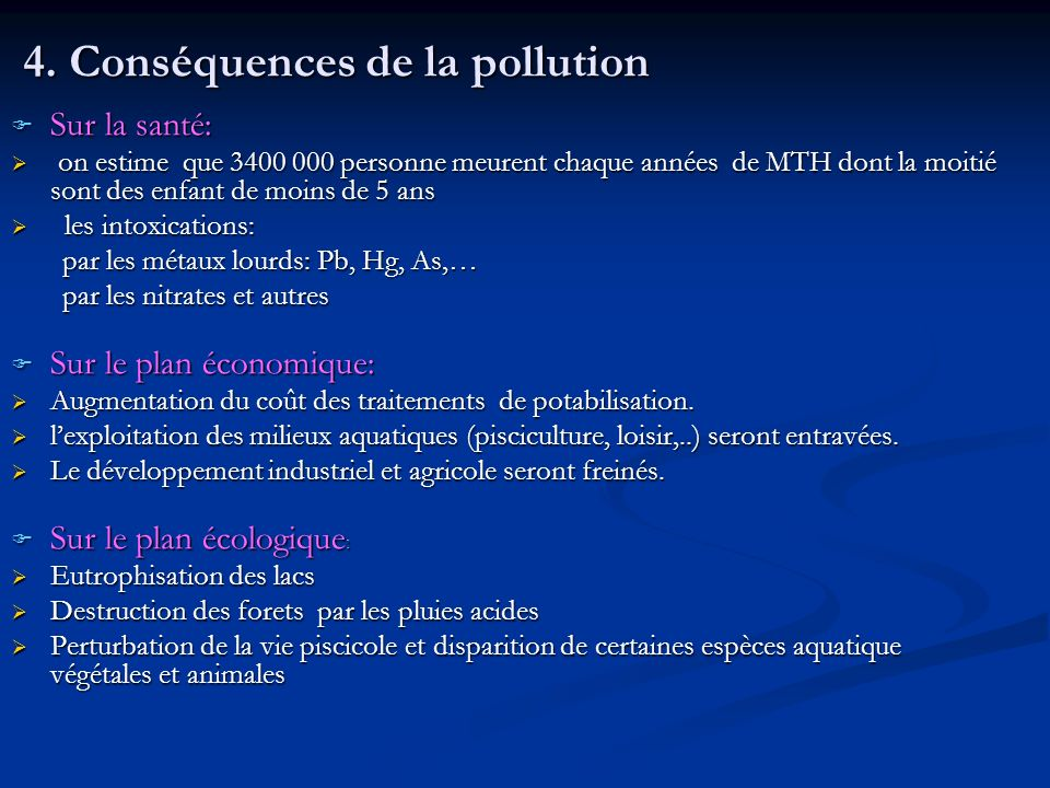4. Conséquences de la pollution