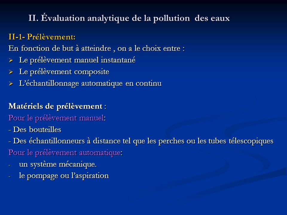 II. Évaluation analytique de la pollution des eaux