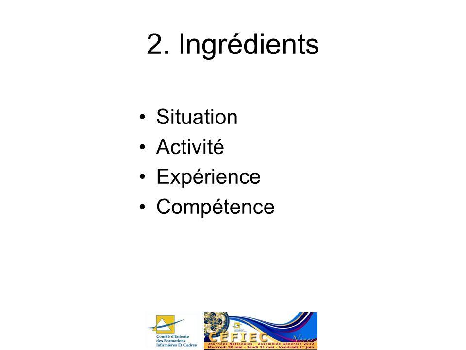 2. Ingrédients Situation Activité Expérience Compétence