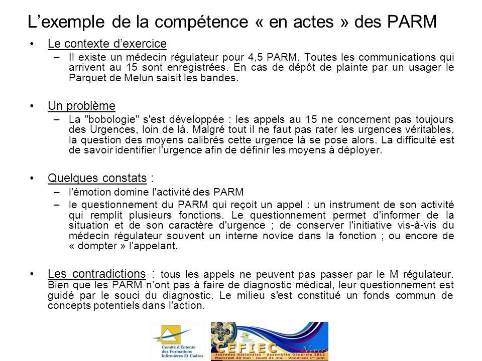 L'exemple de la compétence « en actes » des PARM