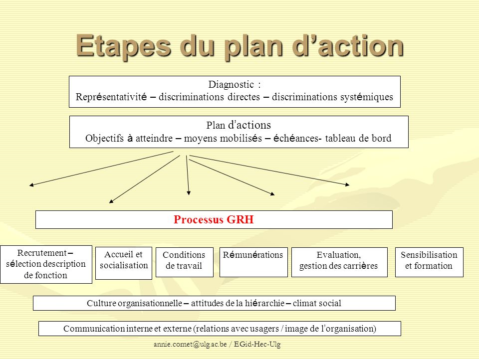 Etapes du plan d'action