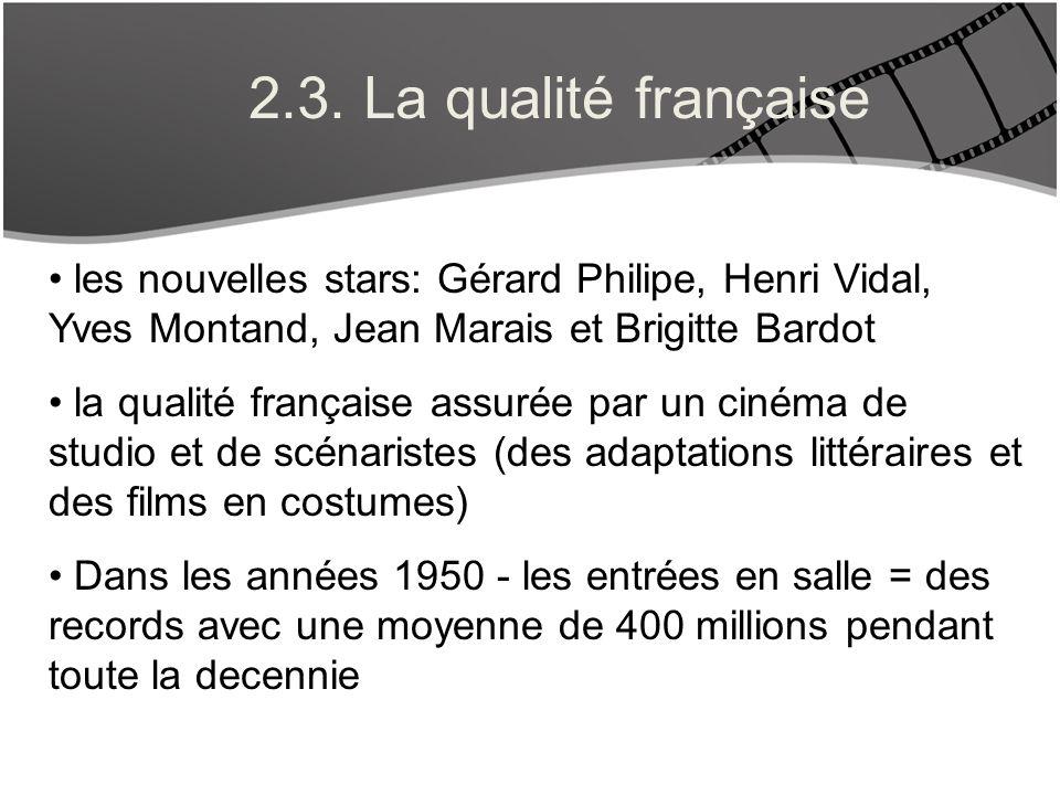 2.3. La qualité française les nouvelles stars: Gérard Philipe, Henri Vidal, Yves Montand, Jean Marais et Brigitte Bardot.