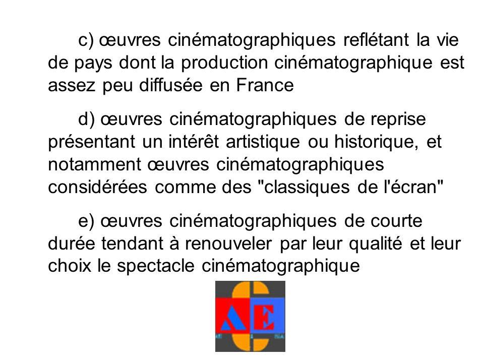 c) œuvres cinématographiques reflétant la vie de pays dont la production cinématographique est assez peu diffusée en France