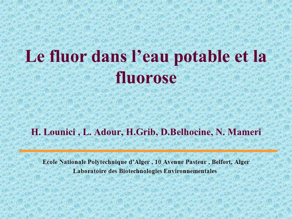 Le fluor dans l'eau potable et la fluorose