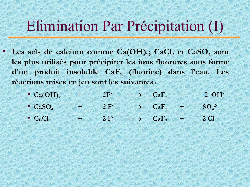 Elimination Par Précipitation (I)