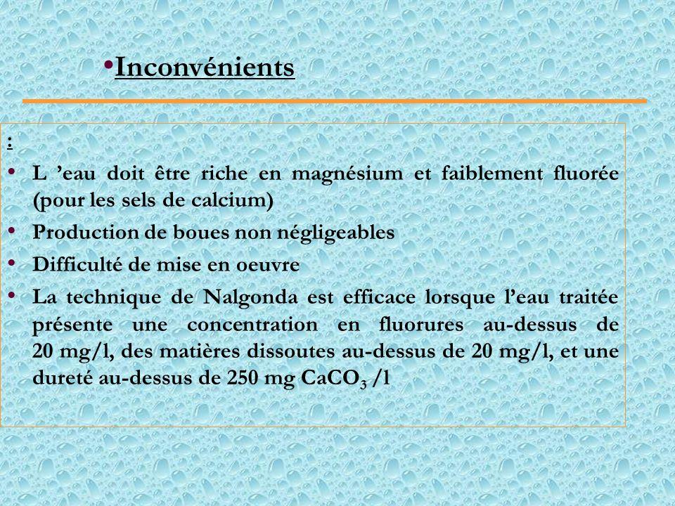 Inconvénients: L 'eau doit être riche en magnésium et faiblement fluorée (pour les sels de calcium)