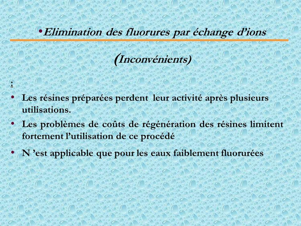 Elimination des fluorures par échange d'ions
