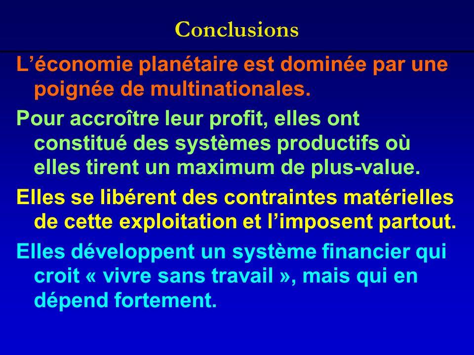 Conclusions L'économie planétaire est dominée par une poignée de multinationales.