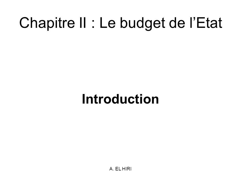 Chapitre II : Le budget de l'Etat