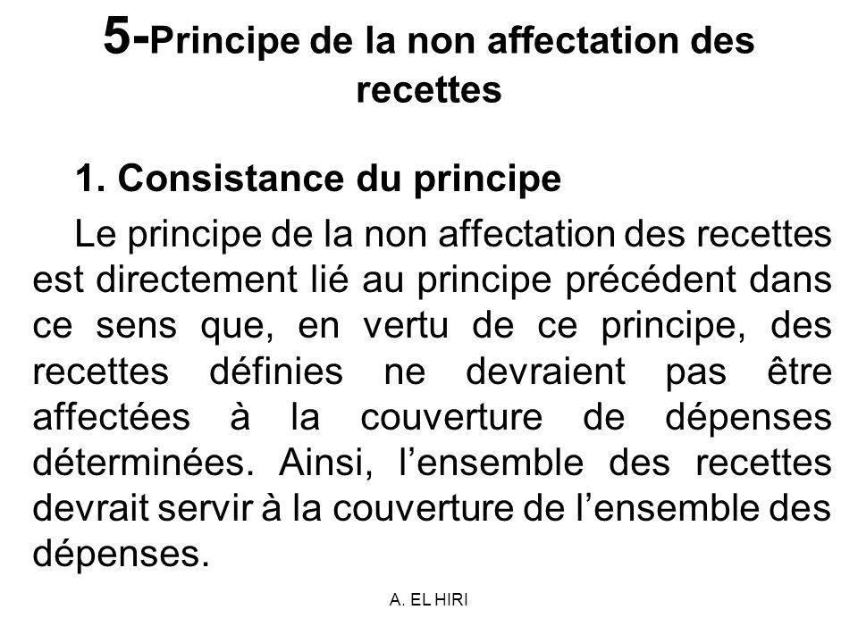 5-Principe de la non affectation des recettes