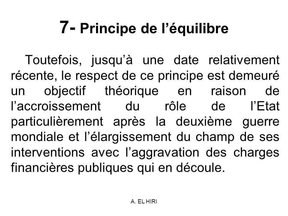 7- Principe de l'équilibre