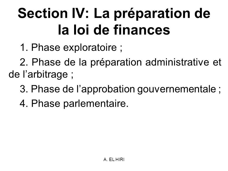Section IV: La préparation de la loi de finances