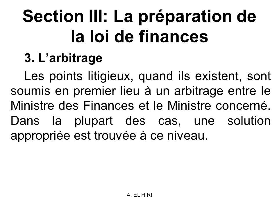 Section III: La préparation de la loi de finances