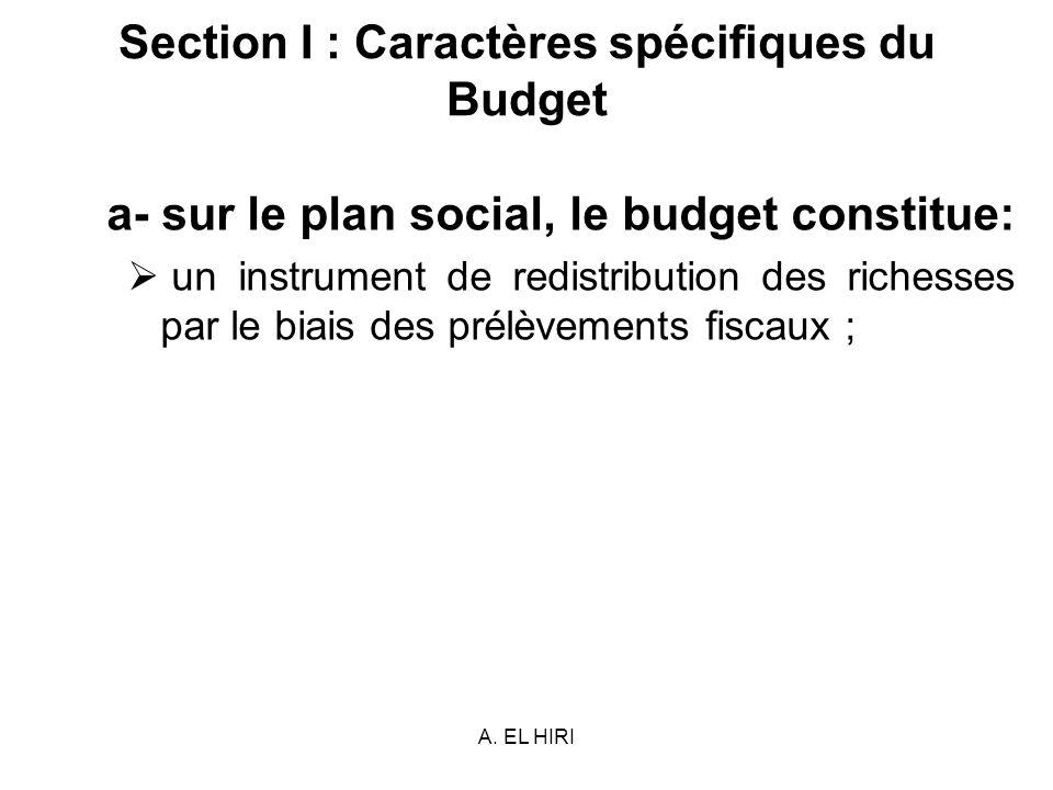 Section I : Caractères spécifiques du Budget