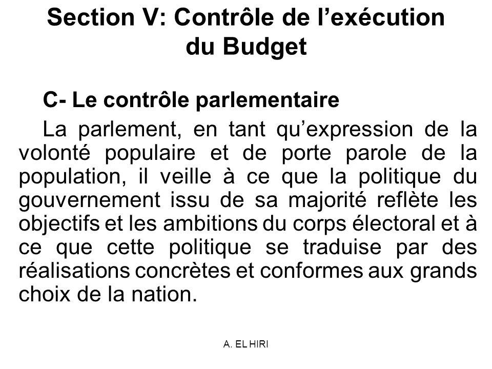 Section V: Contrôle de l'exécution du Budget