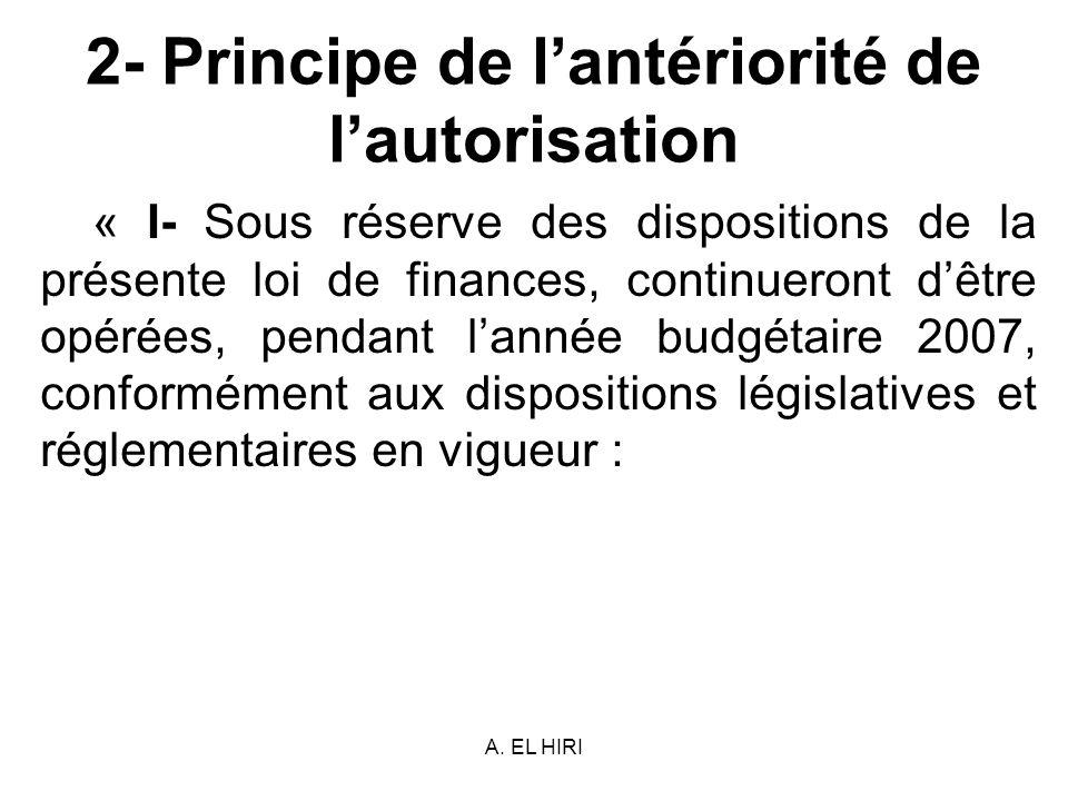 2- Principe de l'antériorité de l'autorisation