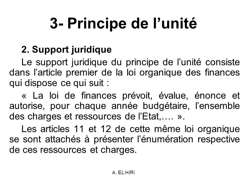 3- Principe de l'unité 2. Support juridique