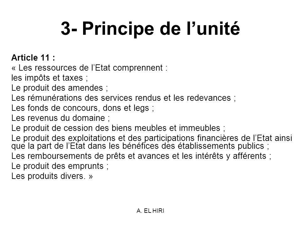 3- Principe de l'unité Article 11 :
