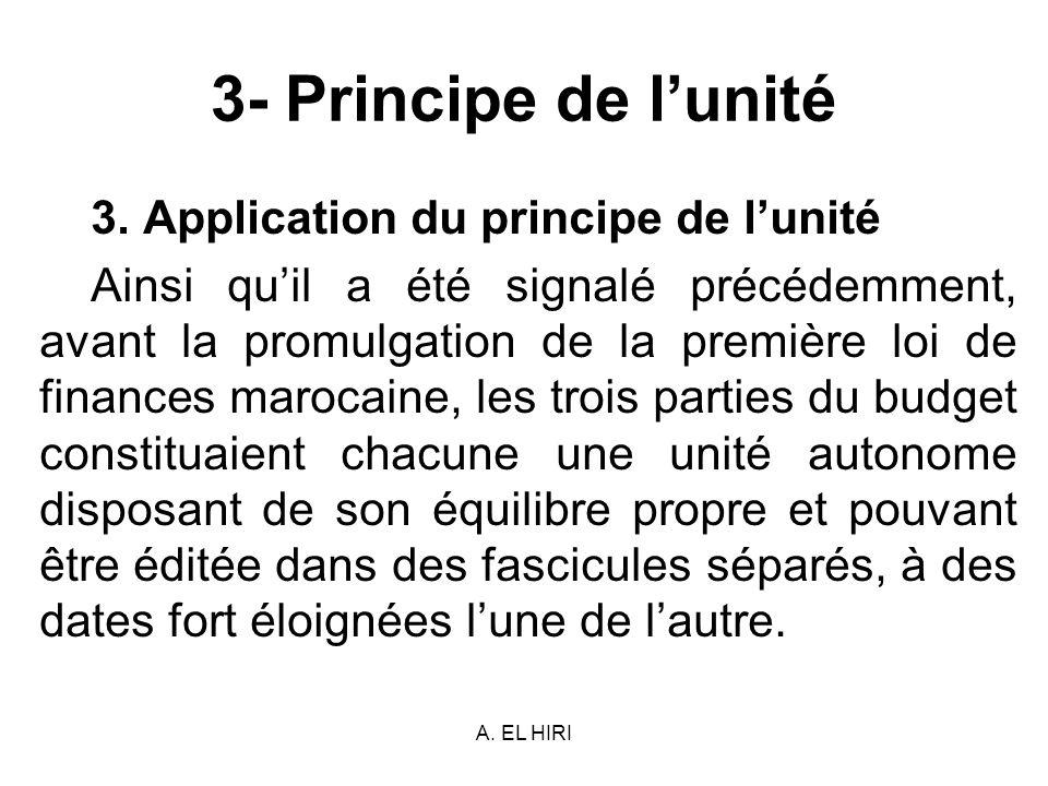 3- Principe de l'unité 3. Application du principe de l'unité