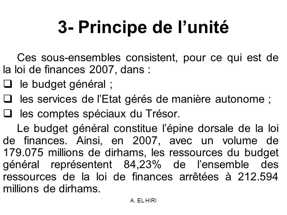 3- Principe de l'unité Ces sous-ensembles consistent, pour ce qui est de la loi de finances 2007, dans :