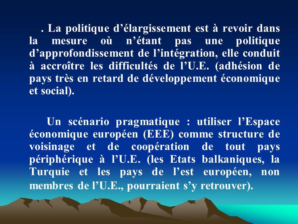 . La politique d'élargissement est à revoir dans la mesure où n'étant pas une politique d'approfondissement de l'intégration, elle conduit à accroître les difficultés de l'U.E. (adhésion de pays très en retard de développement économique et social).