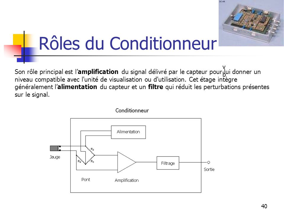 Rôles du Conditionneur