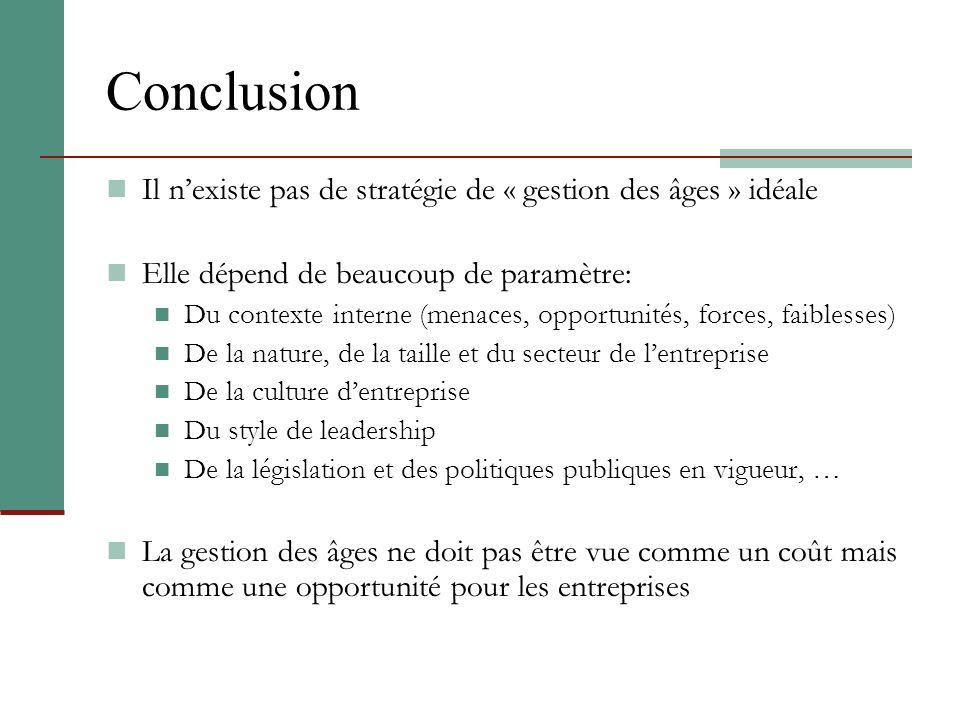 Conclusion Il n'existe pas de stratégie de « gestion des âges » idéale
