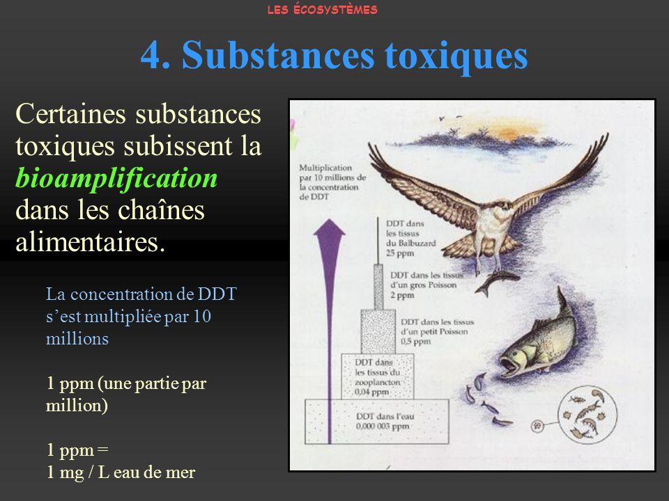 LES ÉCOSYSTÈMES 4. Substances toxiques. Certaines substances toxiques subissent la bioamplification dans les chaînes alimentaires.